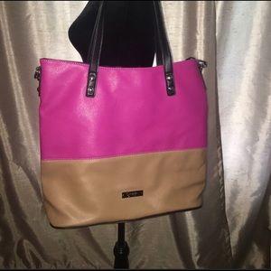Jessica Simpson Pink and Tan Getaway Tote Bag!
